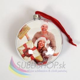 Vianočná guľa s fotkou – strieborná