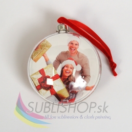 Vianočná guľa s fotkou – zlatá