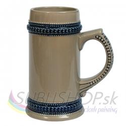 Pivný pohár s modrým ornamentom