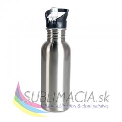 Kovová fľaška s náustkom 600ml strieborná