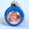 Vianočná guľa s fotkou/modrá/