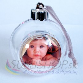Vianočná guľa s fotkou/transparentná/